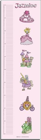 Growth Chart Personalised for Kids Growth Chart - Princess Set