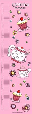 Growth Chart Personalised for Kids Growth Chart - Tea Party