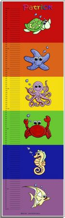 Growth Chart Personalised for Kids Growth Chart - Under the Sea Set BRIGHT