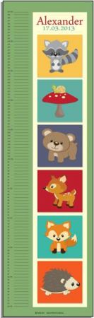 Growth Chart Personalised for Kids Growth Chart - Woodland Critters BOYS