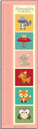 Growth Chart Personalised for Kids Growth Chart - Woodland Critters GIRLS