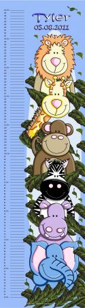 Growth Chart Personalised for Kids Growth Chart - ZOOfari Animal Jungle BLUE