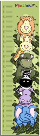 Growth Chart Personalised for Kids Growth Chart - ZOOfari Animal Jungle GREEN