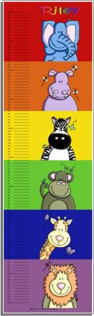 Growth Chart Personalised for Kids Growth Chart - ZOOfari Animal Set