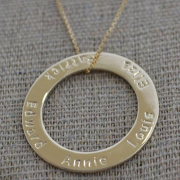 .Personalised Handstamped or Precision Stamped Silver Necklace - Gold Range - Gold Large Eternity Circle
