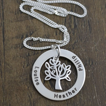 .Personalised Handstamped or Precision Stamped Silver Necklace - Charm Range - Classic Eternity Tree
