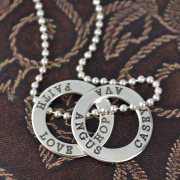 .Personalised Handstamped or Precision Stamped Silver Necklace - Silver Name Pendant Range - Eternity Circle Small - 2 circles