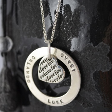 .Personalised Handstamped or Precision Stamped Silver Necklace - Charm Range - Love Heart Eternity Circle Large