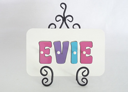 Personalised Kids Wooden Jigsaw Name Puzzle  (Hot Pink/Purple/Aqua)