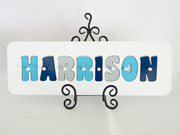 Personalised Kids Wooden Jigsaw Name Puzzle  (Aqua/Grey/Navy)