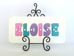 Personalised Kids Wooden Jigsaw Name Puzzle  (Pink/Sea Green/Purple)