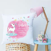 Personalised Birth Cushion for New Baby Girl - Baby Lamb
