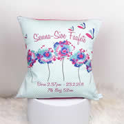 Personalised Birth Cushion for New Baby Girl - Butterfly & Dandelion