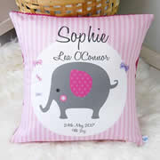 Personalised Birth Cushion for New Baby Girl - Elephant