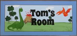 Personalised Name Plaque for kids wall or door  Dinosaur