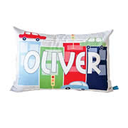 .Personalised Cushion for kids - Cars and Buildings Grey Design