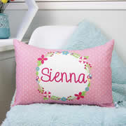 .Personalised Cotton Cushion for kids  - Floral Wreath