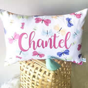 .Personalised Cushion for kids - Fluttering Butterflies Design