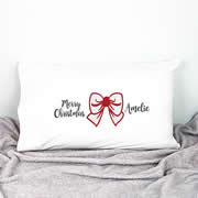 .Personalised Kids Pillowcase Red Christmas Bow