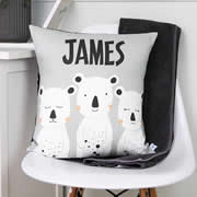 .Personalised Cushion for kids - Three White Bears