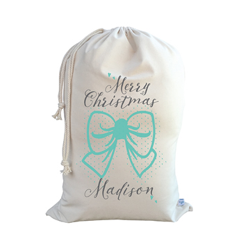 Stix and Stones Baby - .Christmas Santa Sack Personalised - Bow - Mint 6396ff990