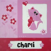 Personalised Kids Name Canvas Wall Art Canvas Name Plaque Personalised - Handpainted Kitty Cat