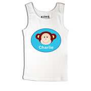 Monkey Blue - Singlet Personalised for Kids