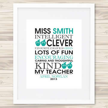 personalised wall art print for teacher my teacher green - Teacher Pictures To Print