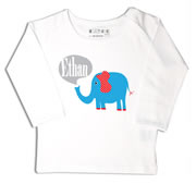 Personalised clothing for kids - Elephant Blue - T-Shirt Personalised for Kids