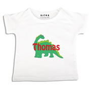 Personalised clothing for kids - Green Dinosaur - T-Shirt Personalised for Kids