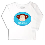 Personalised clothing for kids - Monkey Blue - T-Shirt Personalised for Kids