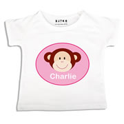 Personalised clothing for kids - Monkey Pink - T-Shirt Personalised for Kids