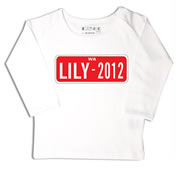 Personalised clothing for kids - Number Plate Red - T-Shirt Personalised for Kids