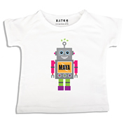 Personalised clothing for kids - Pink Robot - T-Shirt Personalised for Kids