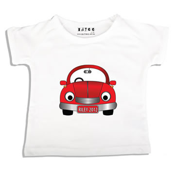 c8c255d4d94 Personalised clothing for kids - Red Car - T-Shirt Personalised for Kids
