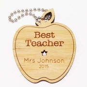Personalised wooden bamboo - Best Teacher Apple Bamboo Keyring