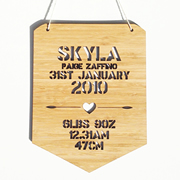 Personalised wooden bamboo wall hanging  - Birth Details Girls