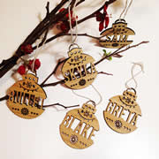 .Personalised wooden bamboo wall hanging  - Christmas Name Ornaments