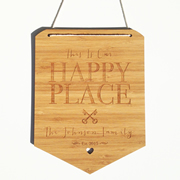 Personalised wooden bamboo wall hanging  - Happy Place
