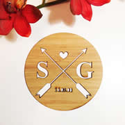 Personalised wooden bamboo plaque  - Arrows Initial