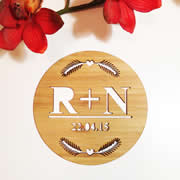 Personalised wooden bamboo plaque  - Nature Initial