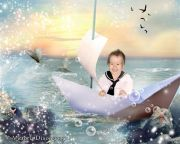 Kids and Baby Fantasy Photo Illustration 'Sail Away'