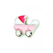 Children Charm for Floating Memory Locket - Pink Pram with Dark Pink Top