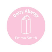 .Personalised School Labels Dairy - Confetti - Labels Allergy 30 labels free shipping