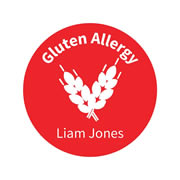 .Personalised School Labels Gluten - Carnival - Labels Allergy 30 labels free shipping