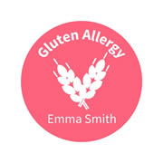 .Personalised School Labels Gluten - Confetti - Labels Allergy 30 labels free shipping