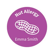 .Personalised School Labels Nut - Confetti - Labels Allergy 30 labels free shipping