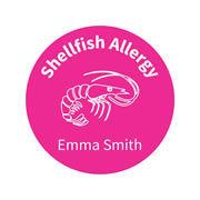 .Personalised School Labels Shellfish - Confetti - Labels Allergy 30 labels free shipping