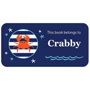 Personalised School Labels Crabby - Book Labels Vinyl 40 labels free shipping