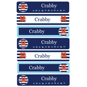 Personalised School Labels Crabby - Labels Vinyl Jumbo 52 labels free shipping